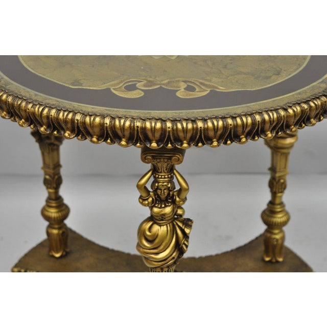 1960s 1960s Vintage French Inspired Figural Gold Side Table For Sale - Image 5 of 11