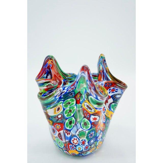 Vintage Murano Multicolored Millefiori Handkerchief Vase For Sale - Image 9 of 10