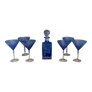 Mid 20th Century Cobalt Decanter and Martini Glasses - 7 Piece Set For Sale