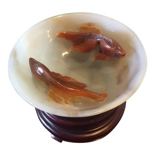 Vintage Carved Agate Fish Decorative Bowl For Sale