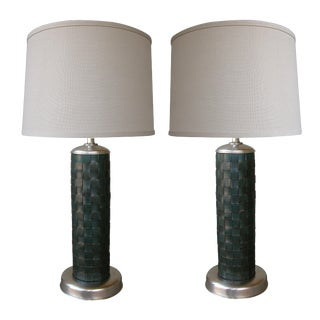 1940's Vintage American Cylindrical-Form Leather-Clad Lamps - a Pair For Sale