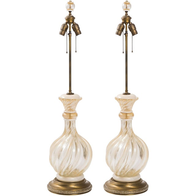 Gold Pair of 1950s Seguso Gold Flake Murano Lamps For Sale - Image 8 of 8