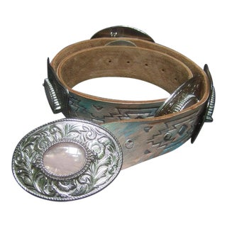 Exotic Pale Pink Agate Tooled Leather Southwestern Belt For Sale