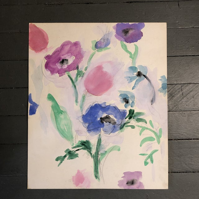 Vintage Original Abstract Floral Watercolor Painting 1970's For Sale - Image 4 of 4