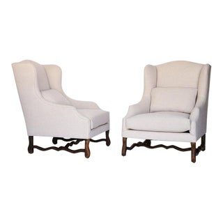 French Mutton Leg Wingback Armchairs, Newly Upholstered - a Pair For Sale