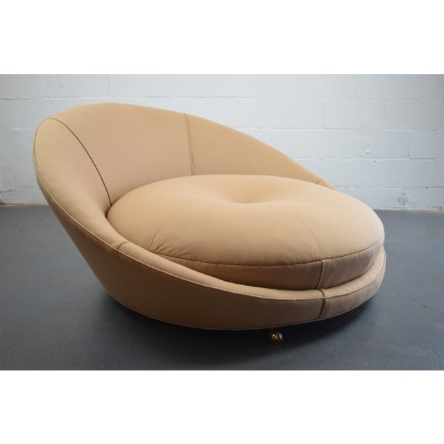 Featuring a striking, futuristic shape we love, this Mid-century Modern, oversized, round lounge chair was designed by...