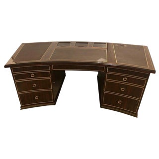Monumental Hollywood Regency Style Executive's or Partners Desk in Rosewood For Sale