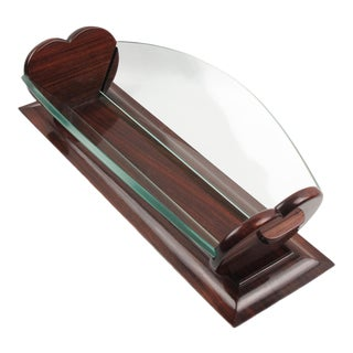 Ruhlmann Style Art Deco Decorative Centerpiece Bowl Basket Rosewood and Glass For Sale