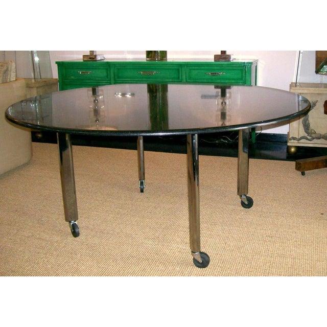 Modern Vintage Joe d'Urso Table on Casters in Polished Black Granite For Sale - Image 3 of 8