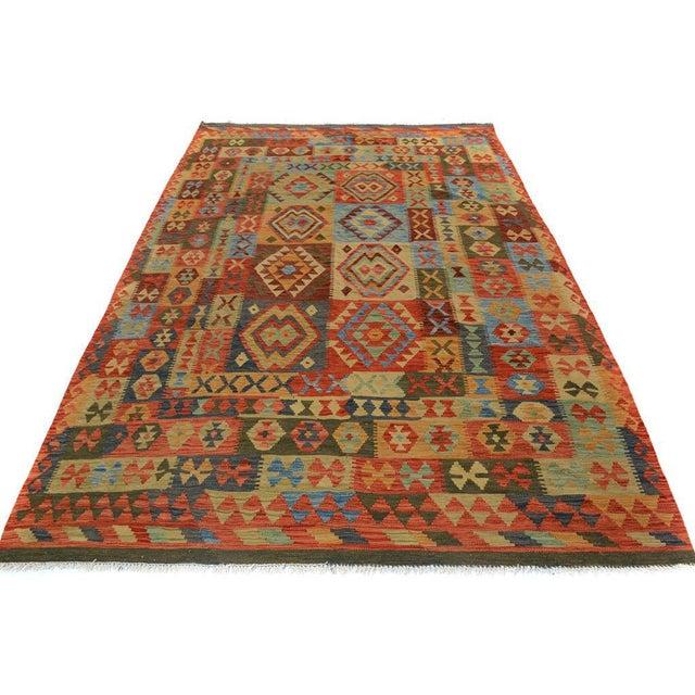 2010s Arya Darwin Gray/Rust Wool Kilim Rug - 6'6 X 9'8 A9296 For Sale - Image 5 of 7