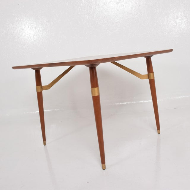 1950s Mexican Modernist Game or Dining Table in Mahogany Wood Attr Eugenio Escudero For Sale - Image 5 of 10