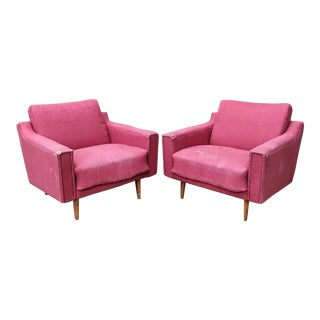 1960s Mid Century Modern Lawrence Peabody Style Lounge Chairs - a Pair For Sale