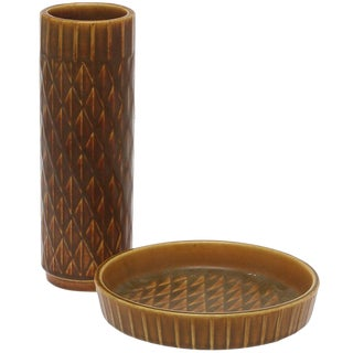 A Vase and Plate by Gunnar Nylund For Sale