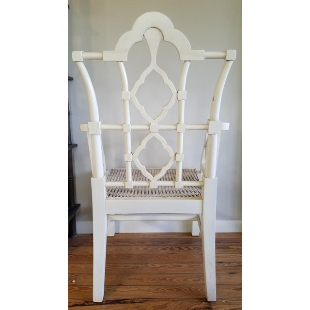 Chippendale Off-White Arm Chair For Sale - Image 4 of 6