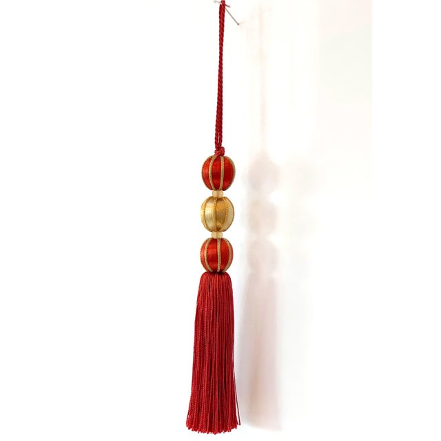 "Boho Chic Beaded Key Tassel in Red & Gold - 7.5"" For Sale - Image 3 of 7"