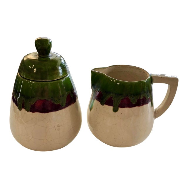 Vintage 1956 Sugar and Cream Drip Pottery Set - Set of 2 For Sale