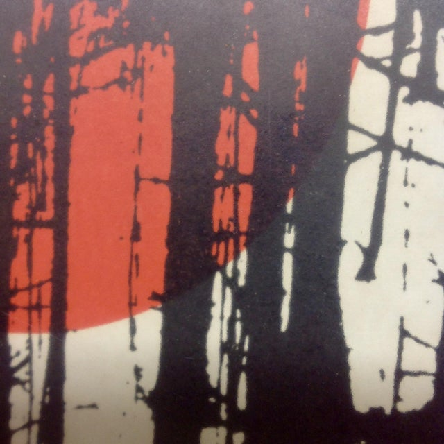 Monochrome Forest Screen Print with Red Sun - Image 6 of 6
