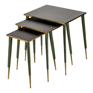 Rare Stitched Leather Nesting Tables by Jacques Adnet - Set of 3 For Sale