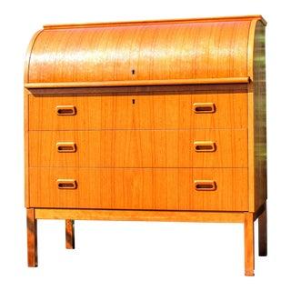 1960s Egon Ostergaard Swedish Modern Secretary Cylender Top Desk For Sale