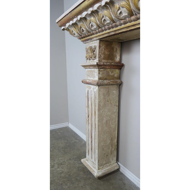 Neoclassical 19th Century Italian Painted and Parcel Gilt Fireplace Mantel For Sale - Image 3 of 13