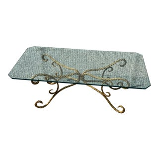 Italian Regency Gilded Rope Twist Metal and Glass Coffee Table For Sale