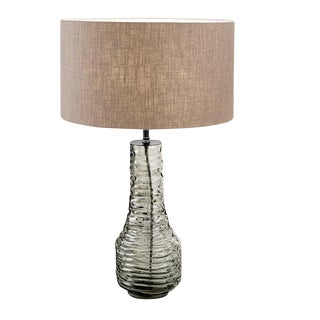 Veneto Glass Lamp With Black Bronze and Linen Shade For Sale