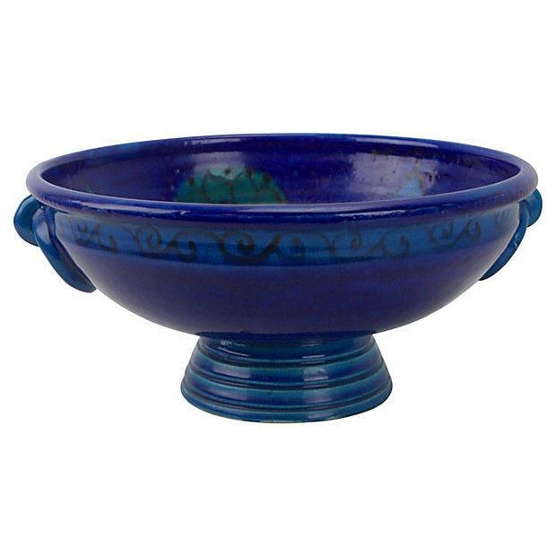 Bitossi Bitossi Flowered Rimini Blue Footed Bowl For Sale - Image 4 of 5
