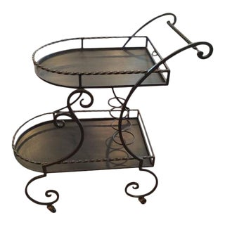 SOLD-Neoclassical Wrought Iron Rolling Tea Cart