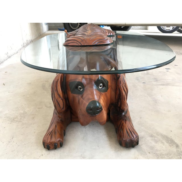 1960s 20th Century Country Carved Table Featured a Lifesize Dog With Cristal Top For Sale - Image 5 of 12