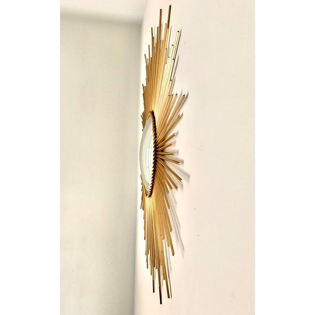Mid-Century Modern Mid-Century Modern Sunburst Convex Mirror For Sale - Image 3 of 7