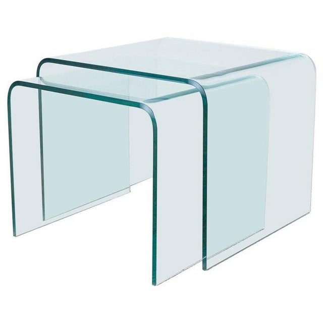 Pair of Angelo Cortesi Glass Waterfall Nesting Drink Tables For Sale - Image 13 of 13