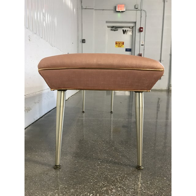 Mid-Century Modern Hollywood Regency Pink & Gold Bench - Image 4 of 7