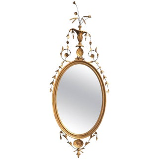 18th Century English Gilt Oval Mirror with Floral Motif For Sale