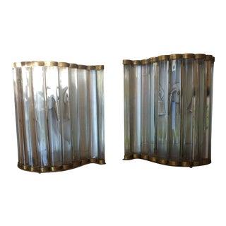 Glass & Bronze Art Deco Wall Sconces - A Pair For Sale
