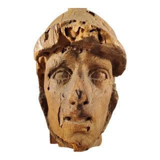 Vintage Wood Carved Soldier Bust Relief For Sale