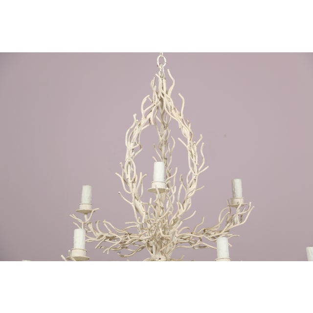 Boho Chic 1980s Two Tier Faux Off-White Coral Chandelier For Sale - Image 3 of 6