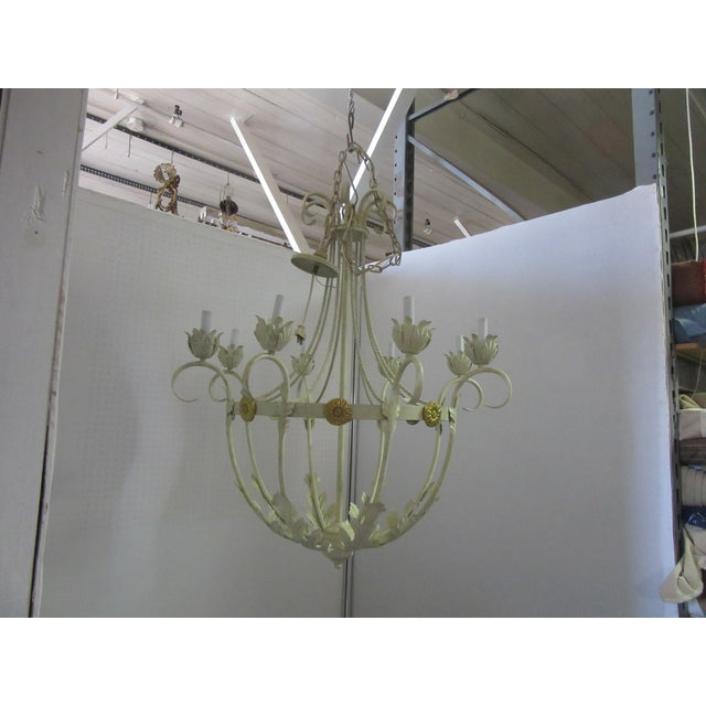 1950s 1950s White Bird Cage Shaped 8 Light Chandelier With Brass Accents For Sale - Image 5 of 6