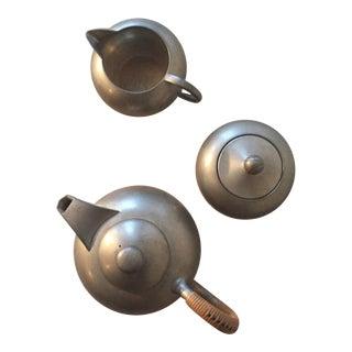 Mid-Century Pewter Tea Pot Set