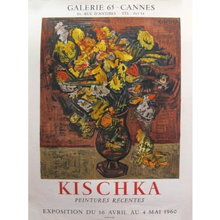 1960 Original French Exhibition Poster - Kischka - Peintures Recentes - Galerie 65 Cannes For Sale