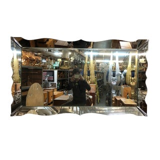 Large Italian Cut Glass Mid Century Wall Mirror For Sale