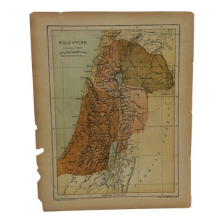 "1880 Antique ""Palestine - in the Time of Christ"" Color Map on Paper by J. Holman & Co. For Sale"