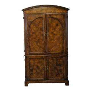 20th Century Traditional Hekman Grand Rapids Burl Wood Tuscan Style Armoire For Sale