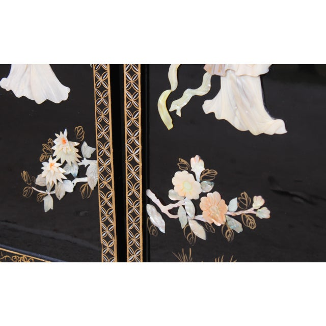 Beautiful and unique, faux mother of pearl, shell, and soapstone Asian wall panels depicting images of Chinese female...