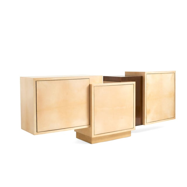 Asymmetrical Credenza | Lacquered Goatskin (Parchment) in Natural finish, Textured Bronze, Mahogany Interior with...
