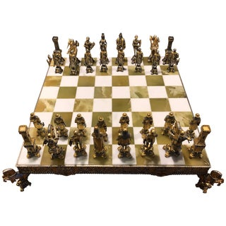 Bronze Gold and Silver Chess Set by Piero Beuzoni / Berfons For Sale