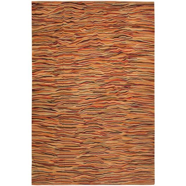 Modern Suk Ivory/Gold Hand-Woven Kilim Wool Rug -10'0 X 14'0 For Sale