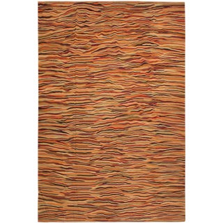 Suk Ivory/Gold Hand-Woven Kilim Wool Rug -10'0 X 14'0 For Sale