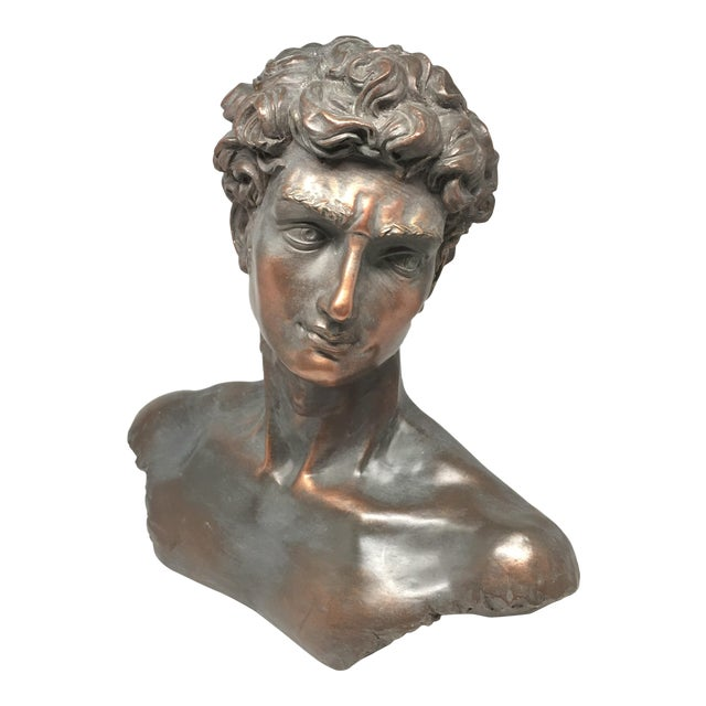 Vintage Neoclassical Roman Plaster Male Bust of David For Sale