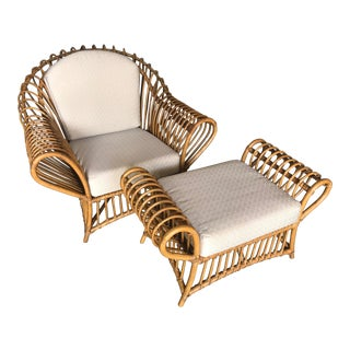1980s Vintage Rattan Lounge Chair & Ottoman For Sale