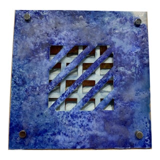 Abstract Encaustic Blue Tile Painting by Karen Tichy For Sale